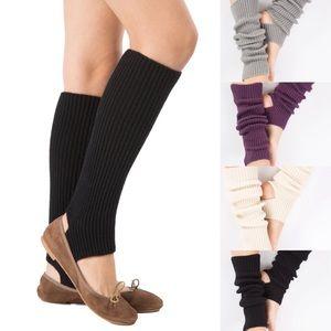 Chunky Ribbed Knit Open Heel Leg Warmers